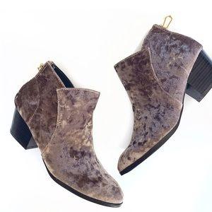 Shoes - Mauve velvet block heel almond toe ankle bootie